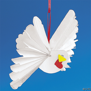 Tissue Paper Valentine Accordion Wing Dove Ornament Craft